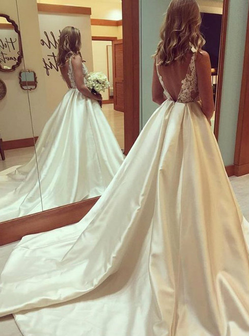 Sexy Backless Satin Wedding Dress with Long Train