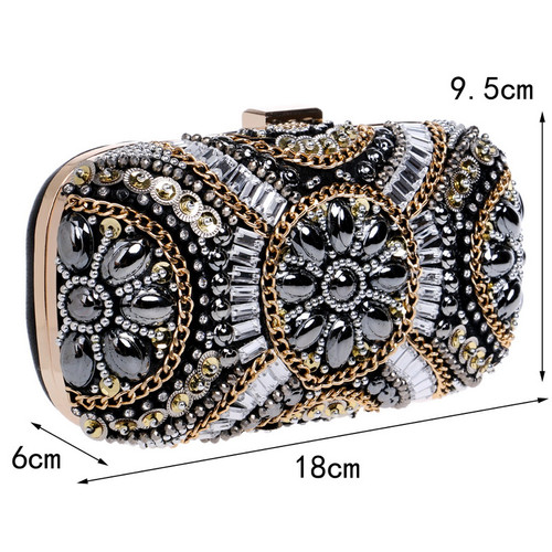 Free Shipping Women's Crystal Evening bag Retro Beaded Clutch Bags
