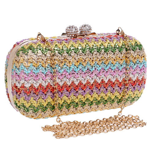 Vintage Knitted Candy Mixed Women Evening Bags Diamonds Metal