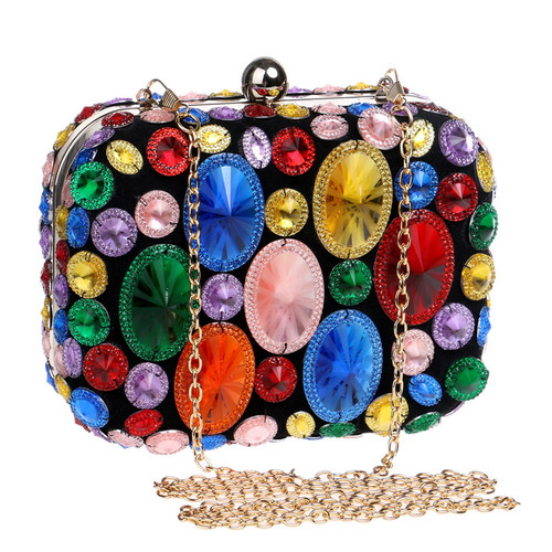 Acrylic Beaded Women Evening Bags With Chain Shoulder Small Purse