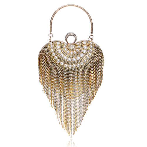 Small Women Clutch Tassel Crystal Evening Bags With Handle Diamonds Finger