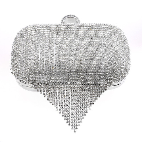 European Tassel Rhinestones Day Clutch With Finger Ring Diamonds Evening Bags