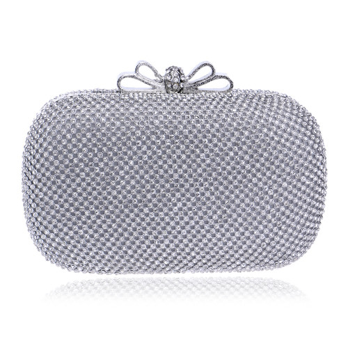 Bow Metal Day Clutches Diamonds Women Evening Bags With Chain Shoulder
