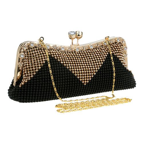 Women Clutch Bags Beaded Evening Bags Pearl Diamonds Golden Handbags