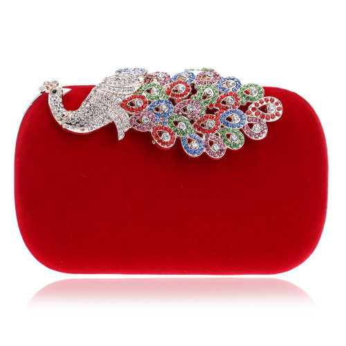 Women Evening Bags Diamonds Metal Peacock Day Clutches