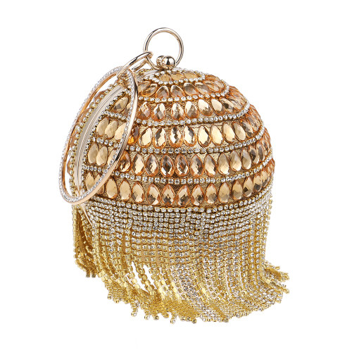 Women Clutch Tassel Rhinestones Lady Evening Bags Acrylic Beaded
