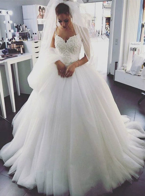 White Spaghetti Straps Ball Gown Tulle  Appliques Wedding Dress