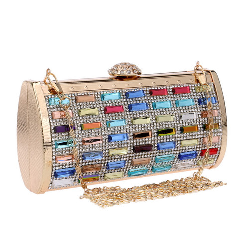 Women Evening Bag Metal Diamonds Purse Day Clutch Handbags