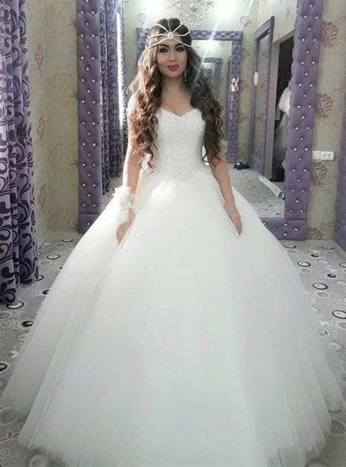 Arabic Ball Gown Sparkly Sweetheart Princess Wedding Dress