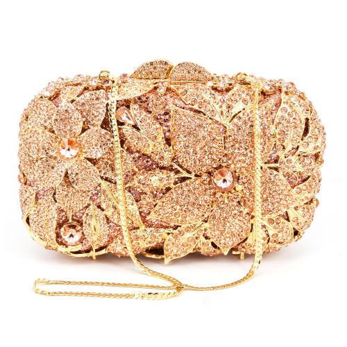 Luxury Crystal Diamond Evening Clutch Bag Silver Gold Champagne Flower