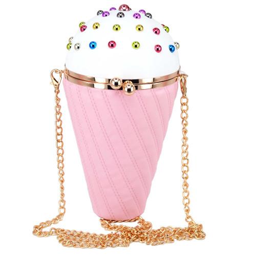 Pink Ice cream Shape Chain Handbags Lovely Multicolor Rivet Fashion Pu