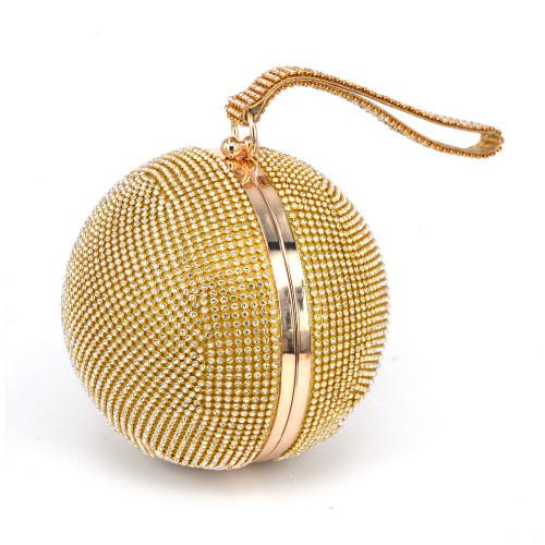 Fashion Golden Round ball Wristlets Women Clutch Evening Bag