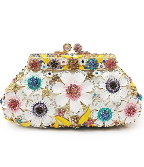 Women Crystal Flower Evening Bag