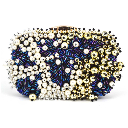 Luxury Blue Beaded Evening Bag Pearl Clutch Wedding Bridal Party