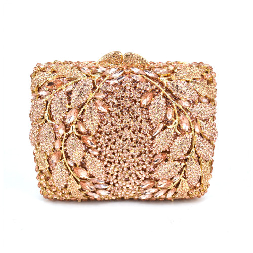 Leaves Pattern Luxury Champagne Crystal Diamond Clutch Bag
