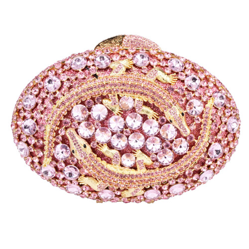 Crocodile Shape Oval Clutch Evening Bag Pink Diamond Crystal Female Day Clutches
