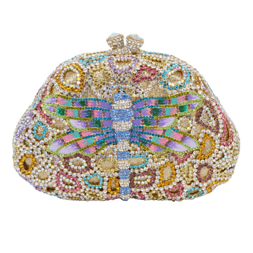 Luxury Lastest Diamond Crystal Clutch Bag Lovely Dragonfly