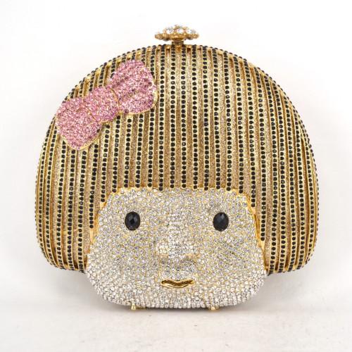 Luxury Evening bag Eva Girl Face crystal Clutch party bag Korean Cute girl