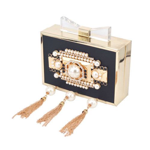 Fashion Chain Tassel Clutches Women PU Beaded Evening Bag