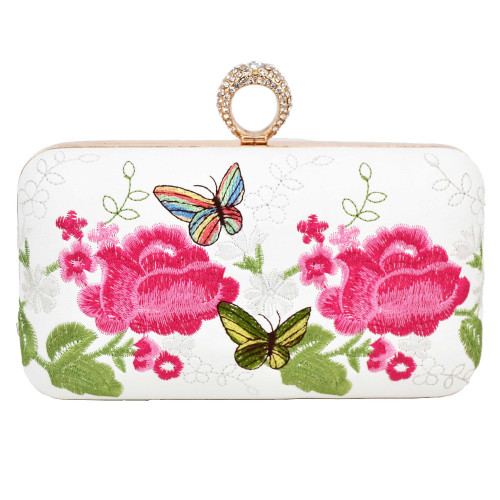 embroidery Flower Clutch Bag finger ring Crystal Evening Bag White Party Prom Purse