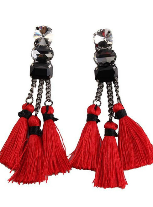 Red Color Fashion Vintage Statement New Long Tassel Bohemia
