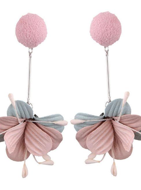 Cute Women Ball Long Statement Earrings Resin Flowers Leaf