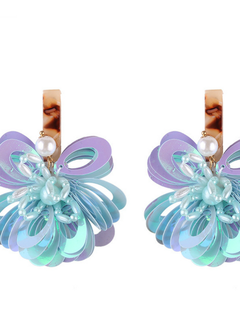 Fashion Jewelry Shiny Flowers Stud Earrings for Women