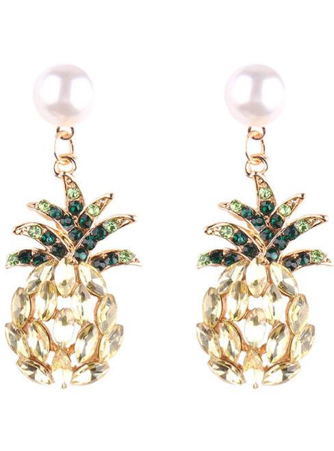 Luxury Champagne Pineapple Stud Earrings Jewelry Fashion Women