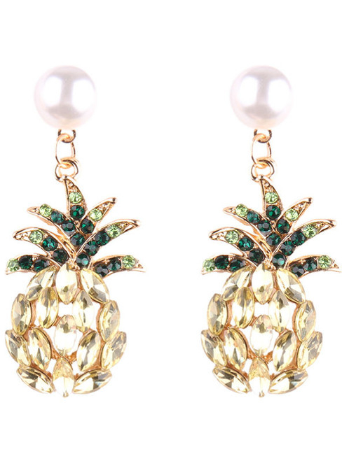 Luxury Champagne Pineapple Stud Earrings Jewelry Fashion Women