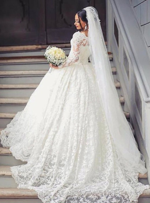 White Ball Gown Lace Long Sleeve Long Wedding Dress