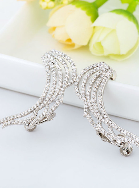 White Gold-Color Cubic Zirconia Luxury Angel Wings Cartilage Cuff Earrings