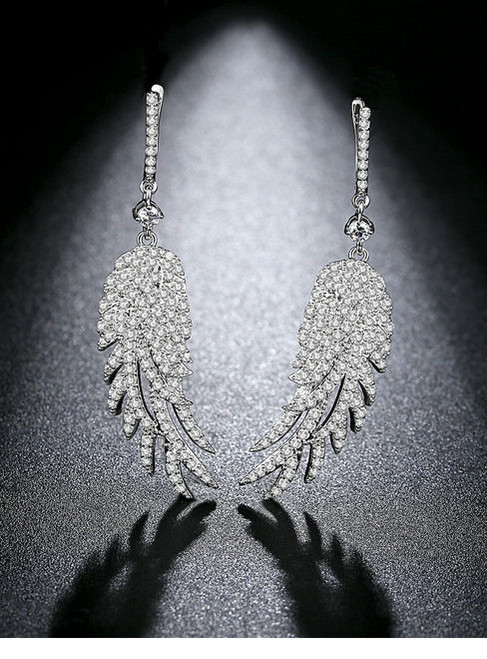 Luxury Cubic Zirconia With Feather Statement Earrings For Women