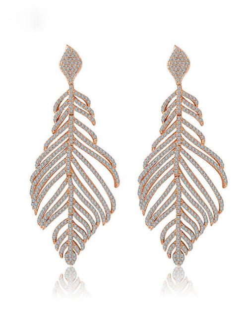 Luxury Big Heavy Feather Party Deluxe Dangle Earrings