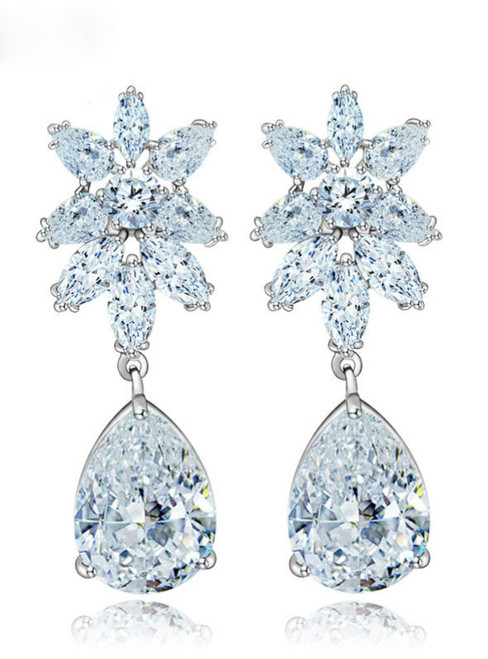 Beautiful Luxury Quality Elegant Women Clear Cubic Zirconia Drop Earrings