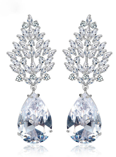 Luxury Large Earrings Female Wedding Jewelry Bridal Big Heavy