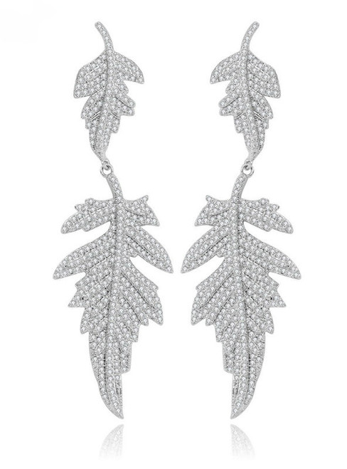 White Gold-Color Luxury Double Leaves Linked CZ Micro Pave Dangle Earrings
