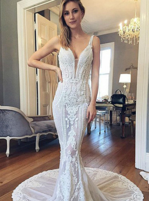 Long Wedding Dress Lace Wedding Dress See Through Bridal Dress