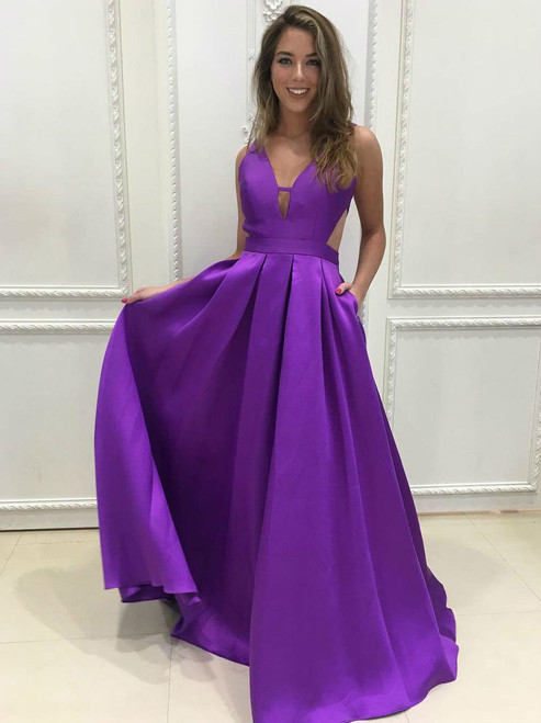Dahlia Purple Plunging V Neck A Line Prom Dress Open Back Formal Gown
