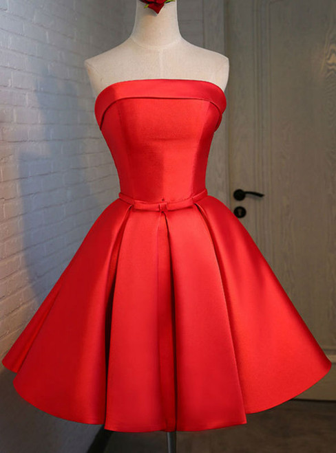Graduation Dresses 2017 Red Satin Short Evening Dress With Ruched Skirt