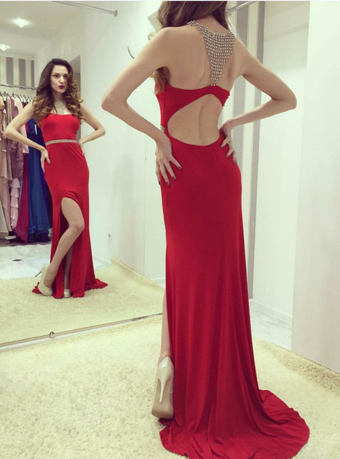 Sexy Slit Red Prom Dress Sheath Open Back Red Evening Dress