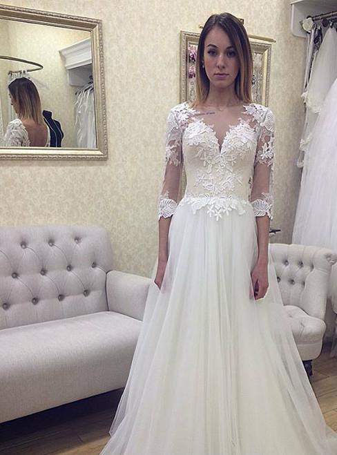 White Tulle Long Sleeve Backless Floor Length Wedding Dress