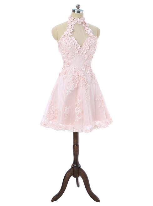 2017 Homecoming Dresses A-line Halter Knee Length Flowers Appliques
