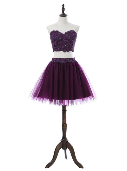 Sweetheart Short Mini Tulle Purple 2017 Homecoming Dresses A-line