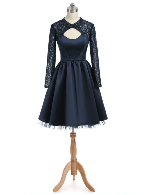 Navy Blue 2017 Homecoming Dresses A-line High Collar Long Sleeves