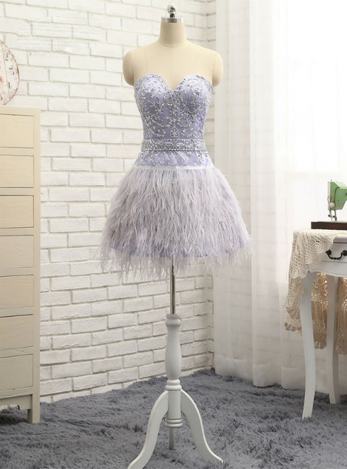 2017 Homecoming Dresses A-line Sweetheart Short Mini Feather