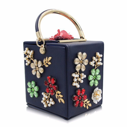 Flower Clutches Purse Women Wedding Purses Pearl Party Bag
