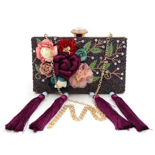 Ladies Evening Bags Smaller Beaded Clutches Tassel Purses Women Wedding