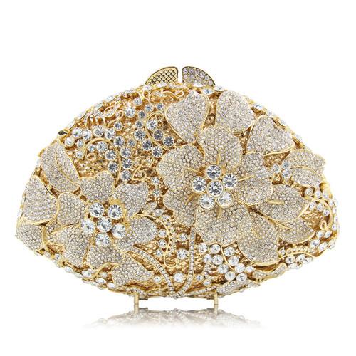 Flower Crystal Bag Ladies White Diamonds Wedding Clutch Ladies Women Evening Clutches