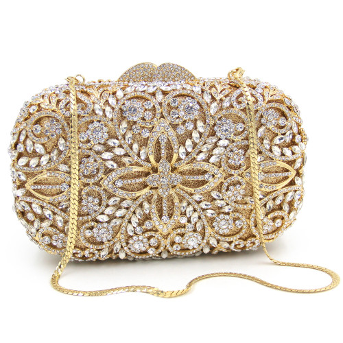 Luxury Crystal Clutches Lady Designer Flower Pattern Evening Bags Wedding