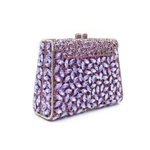 Luxury Crystal Handbag Diamonds Party Clutches Fashion Purple